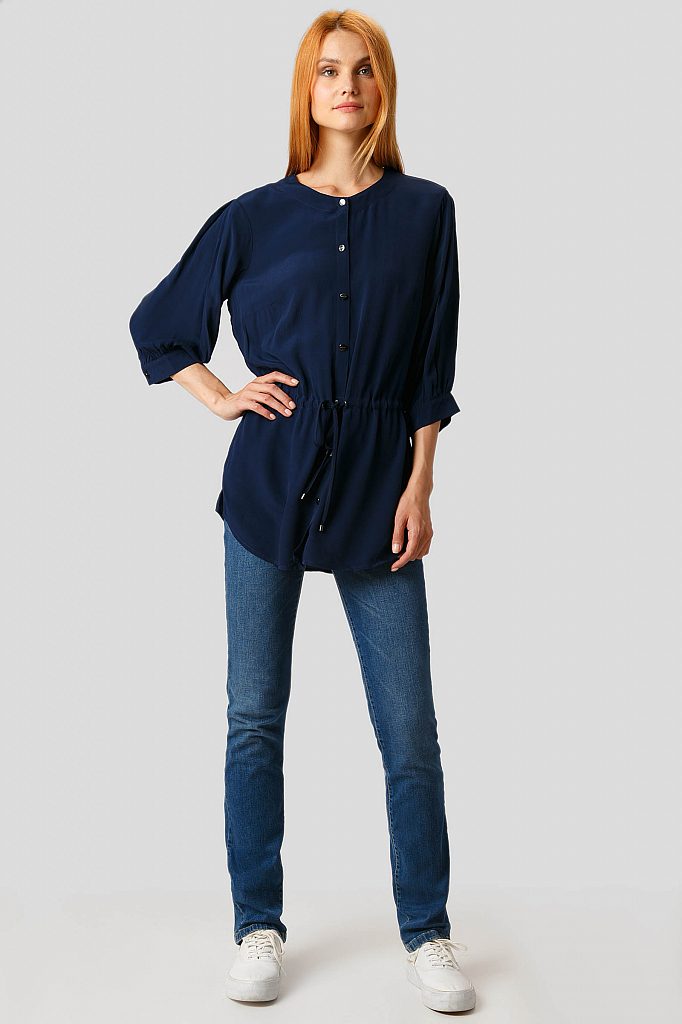 Фото 2 - Блузку женская темно-синего цвета