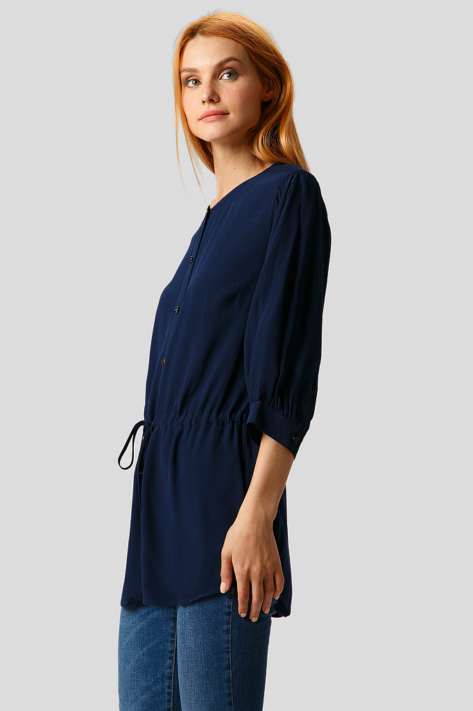 Фото 3 - Блузку женская темно-синего цвета