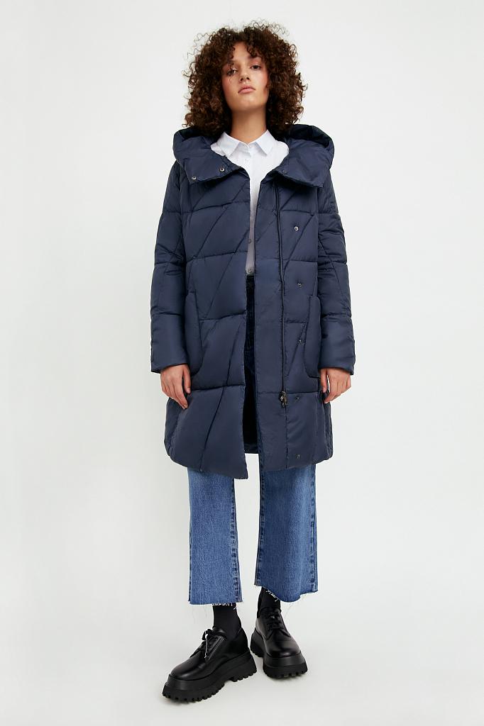 Фото 2 - Пальто женское темно-синего цвета