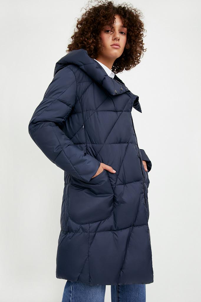 Фото 3 - Пальто женское темно-синего цвета