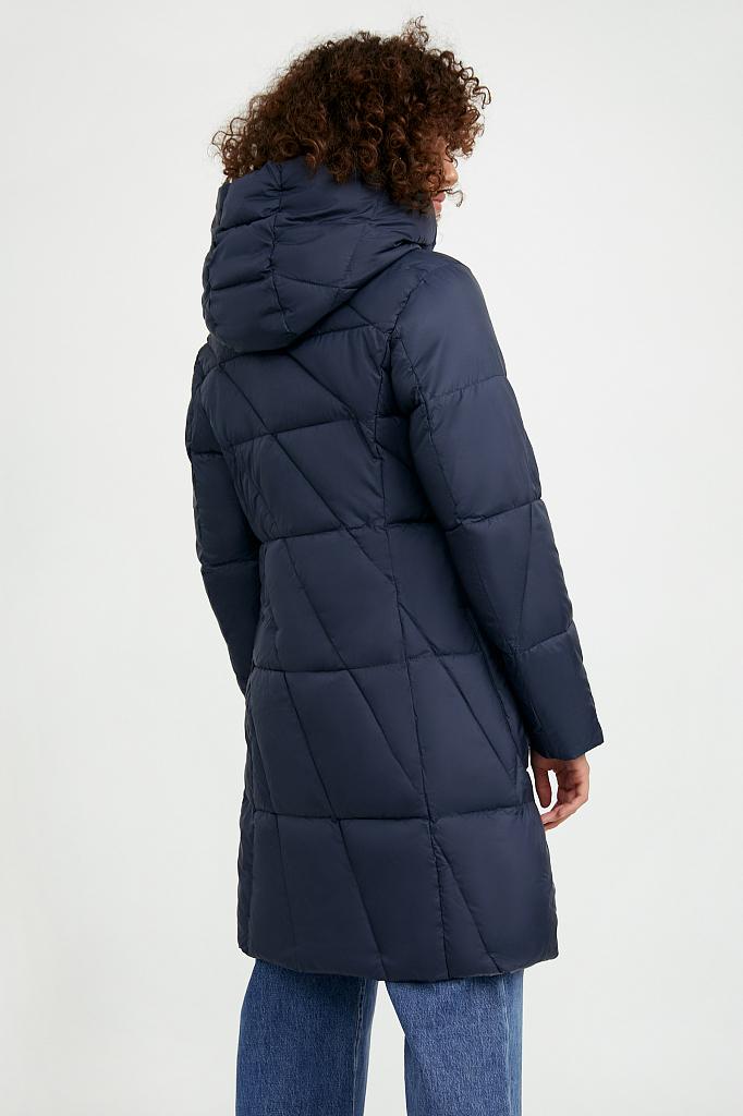 Фото 4 - Пальто женское темно-синего цвета