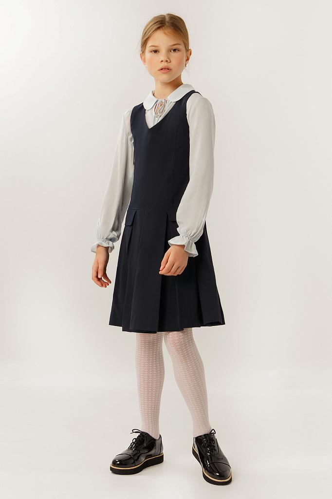 Фото 15 - Платье для девочки темно-синего цвета