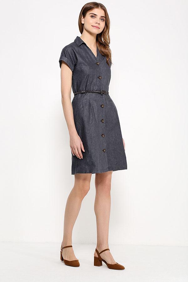 Фото 10 - Платье женское темно-синего цвета