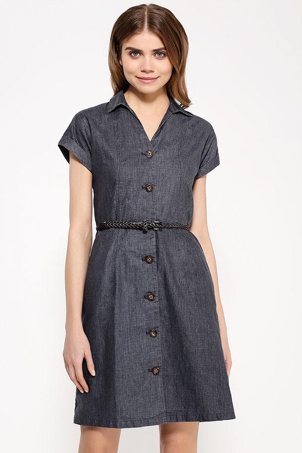 Фото 11 - Платье женское темно-синего цвета