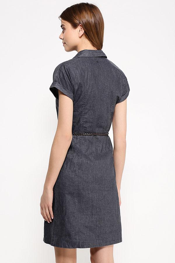 Фото 12 - Платье женское темно-синего цвета